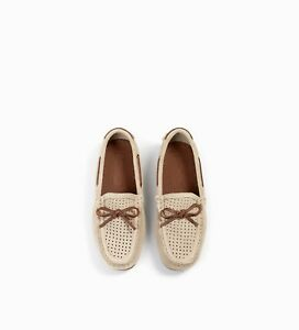 5a56c5551b1 Zara Kids Boys Leather Shoes Perforated Split Suede Loafers Size 4.5 ...