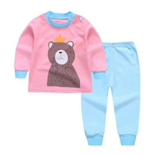 Kids Baby Boy Girl Long Sleeve Clothes Top+Pants Cotton Pajamas Sleepwear Outfit