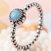 Women Fashion Round Cut Blue Sapphire 925 Sterling Silver Ring Wedding Jewelry