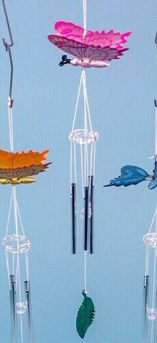 GARDEN METALLIC FINISH BUTTERFLY CHIMES SHED OR ANYWHERE COLOURS