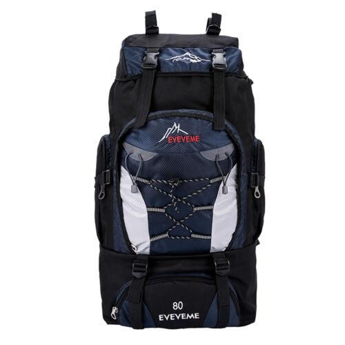 80L Waterproof Hiking Backpack Camping Shoulder Bag Travel Rucksack Outdoor US