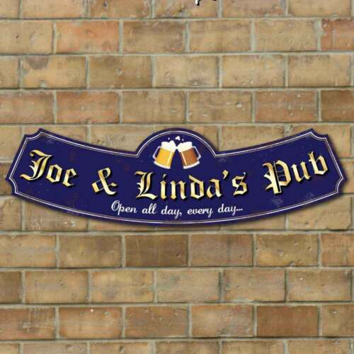 Arched Rusty Effect old Pub Sign Landlord sign Custom Metal Home Bar sign