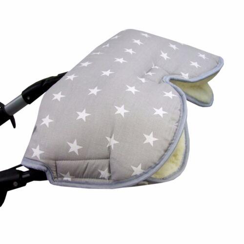 HANDMUFF MUFF Handwärmer Handschuh für Kinderwagen mit LAMMWOLLE STERNE