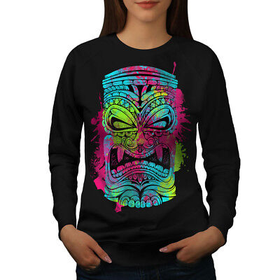 Kompetent Wellcoda Psychedelic Cool Womens Sweatshirt, Masking Casual Pullover Jumper