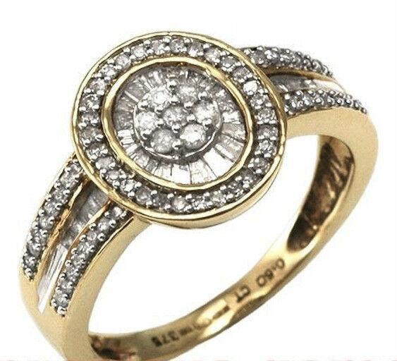 50pt Baguette & Round 1 2ct Diamond Ring9ct goldSizes L M O & PRRP .99