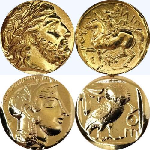 Greek Coins Percy Jackson Gift Zeus 4+12-G King of the Gods and Athena /& Owl