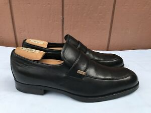 EUC-GUCCI-Black-Leather-Penny-Loafers-Slip-On-Logo-Men-039-s-7-5-D-US-8-5-Shoes-A8