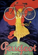 Art Deco Poster Peugeot  Bicycle Cycle Bike Ad Print