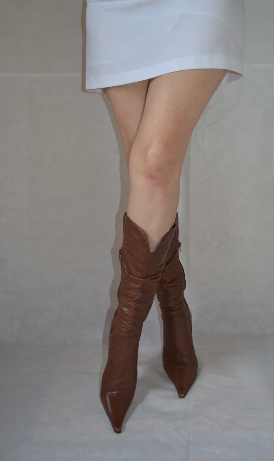 Women Brown Mid Calf Boots Elegant Point Toes Real Soft Leather Office Size 6