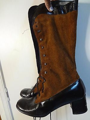 Vintage Boots women's Leather Brown Black Suede 9 Western Victorian Inspired
