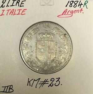 ITALIE-2-LIRE-1884-R-Piece-de-Monnaie-en-Argent-TTB