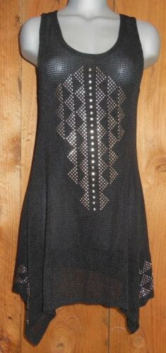 new VOCAL SHIRT studs tribal aztec TUNIC Vintage western S M L XL XXL BLACK TANK