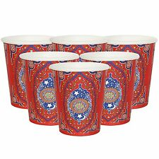 Islam Eid Mubarak Colourful Party Cups Tableware Supplies - Ornate Floral 8 Pack