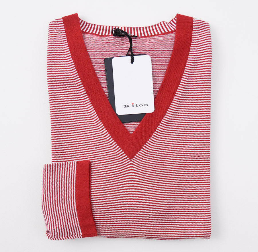 NWT  1395 KITON rot and Weiß Striped Fine-Gauge Cotton Sweater L (Eu 52)