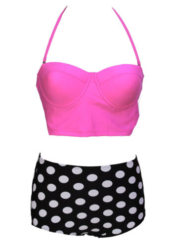 Maillot de bain femme taille haute rétro pin-up culotte à pois haut rose