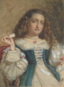 Ecole-francaise-du-XIXE-s-Portrait-de-jeune-fille-Aquarelle-sur-papier