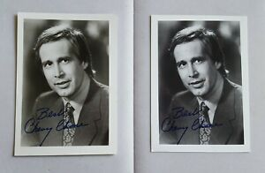 lot-of-2-hand-signed-Chevy-Chase-B-amp-W-photos-autographed-authentic-vintage-5x7
