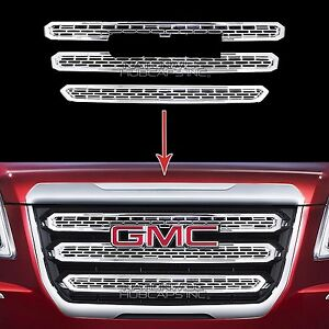 2016-2017-GMC-TERRAIN-CHROME-Grille-Overlay-3-Bar-Front-Grill-Covers-Inserts-New
