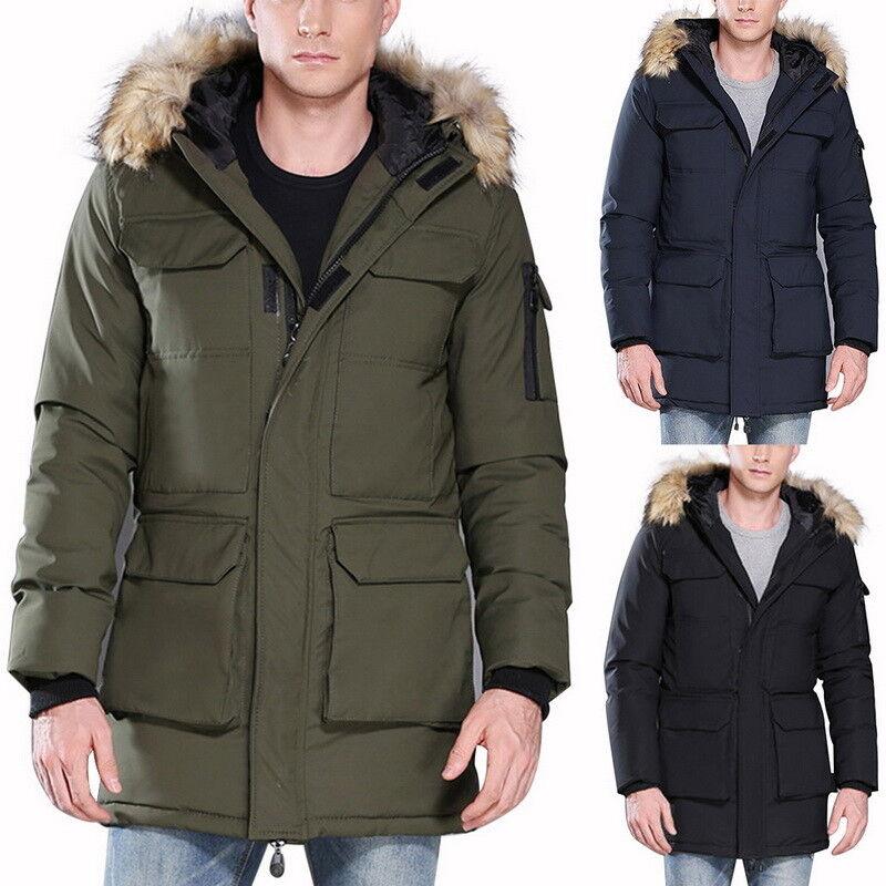 Varios bolsillos Grueso Abrigo  Top Hombres Cálida Chaqueta de plumón Largo Parka Abrigo Collar De Piel  alta calidad general