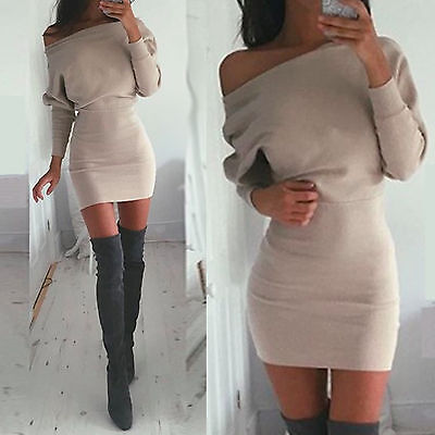 Sexy Women's One Shoulder Bodycon Slim Cocktail Party Clubwear Pencil Mini Dress