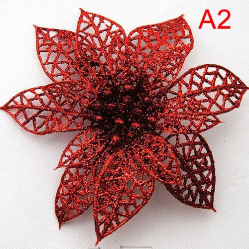 1pcs Glitter Hollow Artificial Flowers Christmas Tree DecorationsUKPTUK