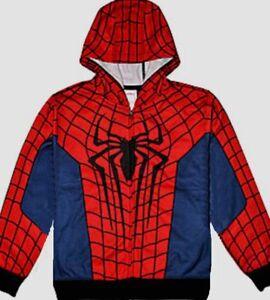 Spiderman Zip Up Costume Hoodie 6-7 8 10-12 14-16 New Child Jacket S M L XL - eBay