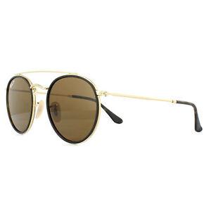 62ec7c41a3 Ray-Ban Sunglasses Round Double Bridge 3647N 001 57 Gold Brown B-15 ...