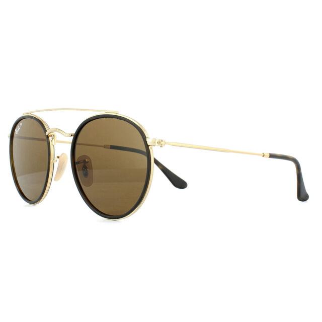 d0db3d3adf9 Ray-Ban Sunglasses Round Double Bridge 3647N 001 57 Gold Brown B-15