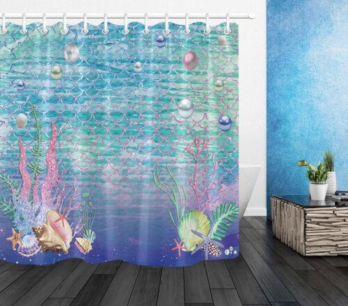 Tissu imperméable rideau de douche set sous-marin poisson échelle sirène étoile de mer Shell