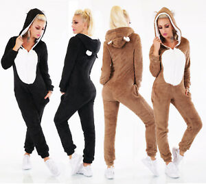 Tuta-donna-monopezzo-intero-pigiama-tutina-orso-teddy-orecchie-cappuccio-nuovo