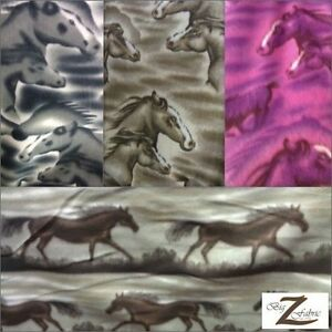 Animal Horse Print Polar Fleece Anti Pill Fabric 60 Width Sold By