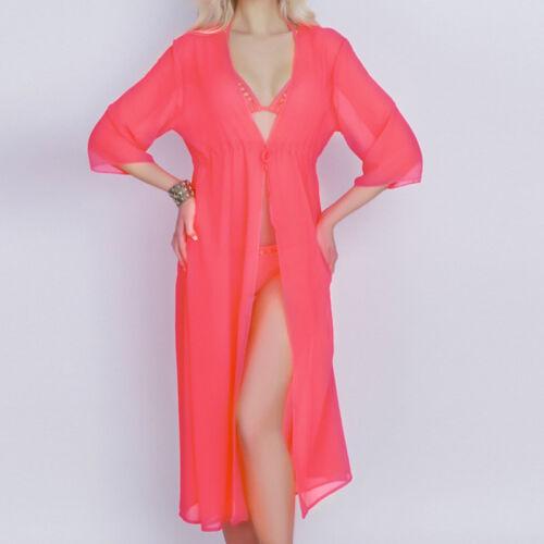 Damen Bikini Cover Up Lang Vertuschung Strandkleid Sommer Minikleid Partykleid