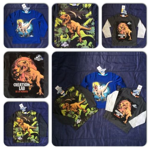 Official Jurassic World Boys Dinosaur T-Shirt Tee Top T Rex Movie Film Dino Kids