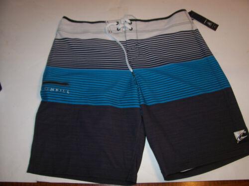 NEUF O /'NEILL noir bleu turquoise à rayures Board Shorts Swim John John JJ 36 ou 38