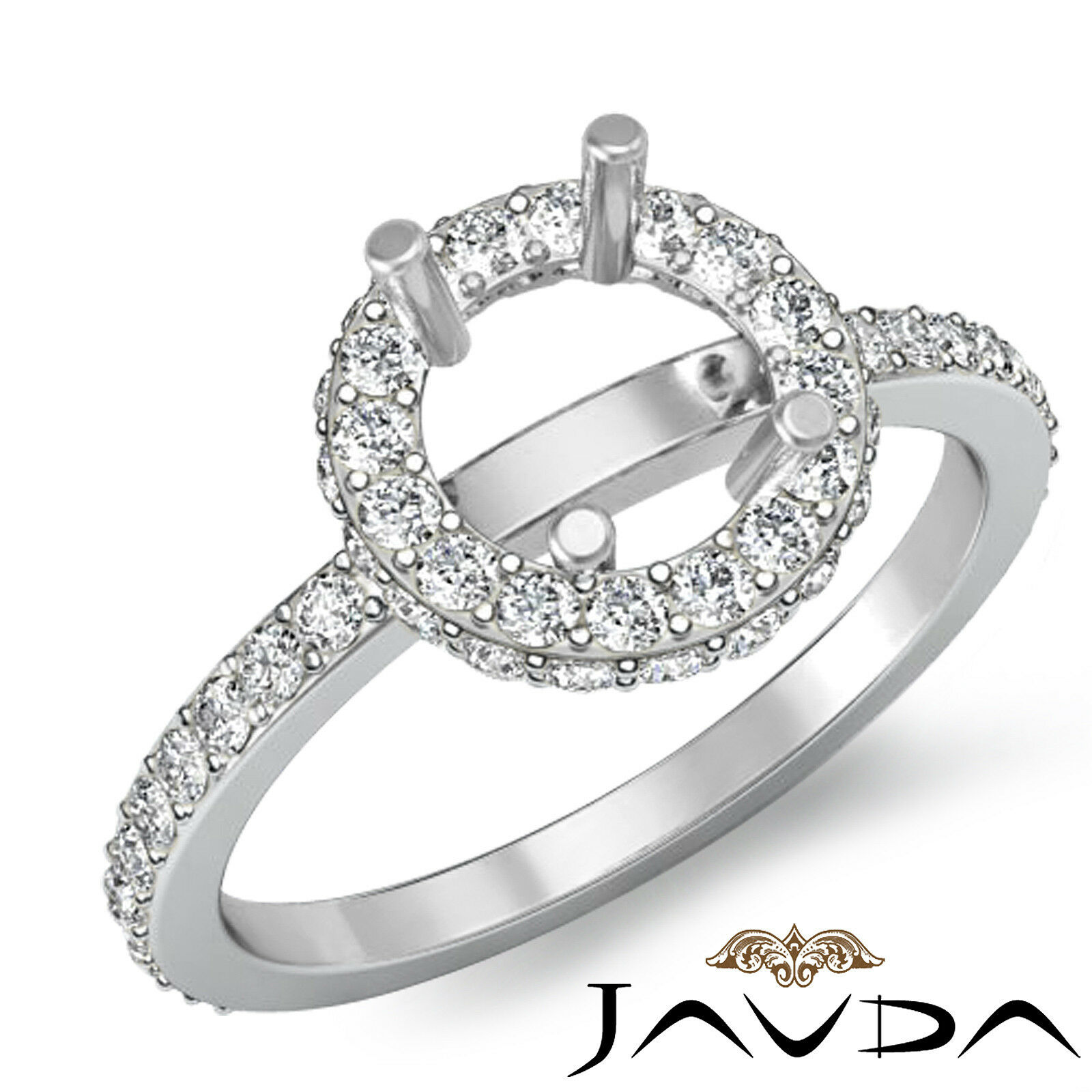 Unique Pave Diamond Engagement Proposed Ring 14k W gold Round Semi Mount 0.85Ct