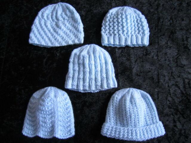 d84e6e559 Premature Small Baby Knitting Pattern for 5 Hats - 4 Ply