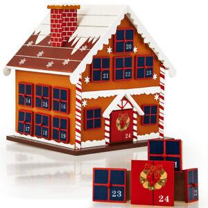 Decoration Calendrier De L Avent En Bois.Details Sur Calendrier De L Avent Maison En Bois A Remplir Soi Meme Decoration Noel