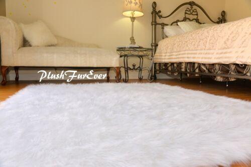 5x5 Luxury White Shaggy Area Rug Nursery Sheepskin Faux Fur Throw Plush Rug SC