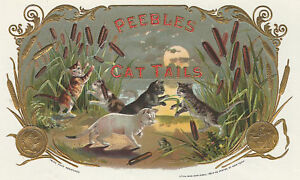 "F /"" CAT TAILS/""  Antique Cigar Label T Shirt Playful Cats SMALL-XXXLARGE"