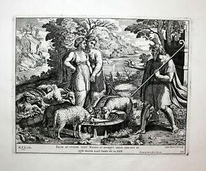 1674 Raphael Fanetti Vatican Bible Jacob Rachel Radierung etching Kupferstich
