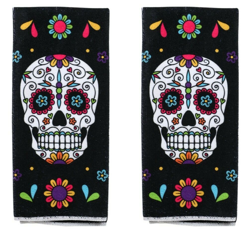New Halloween Kitchen Towels ~ Set of 2 Day of the Dead