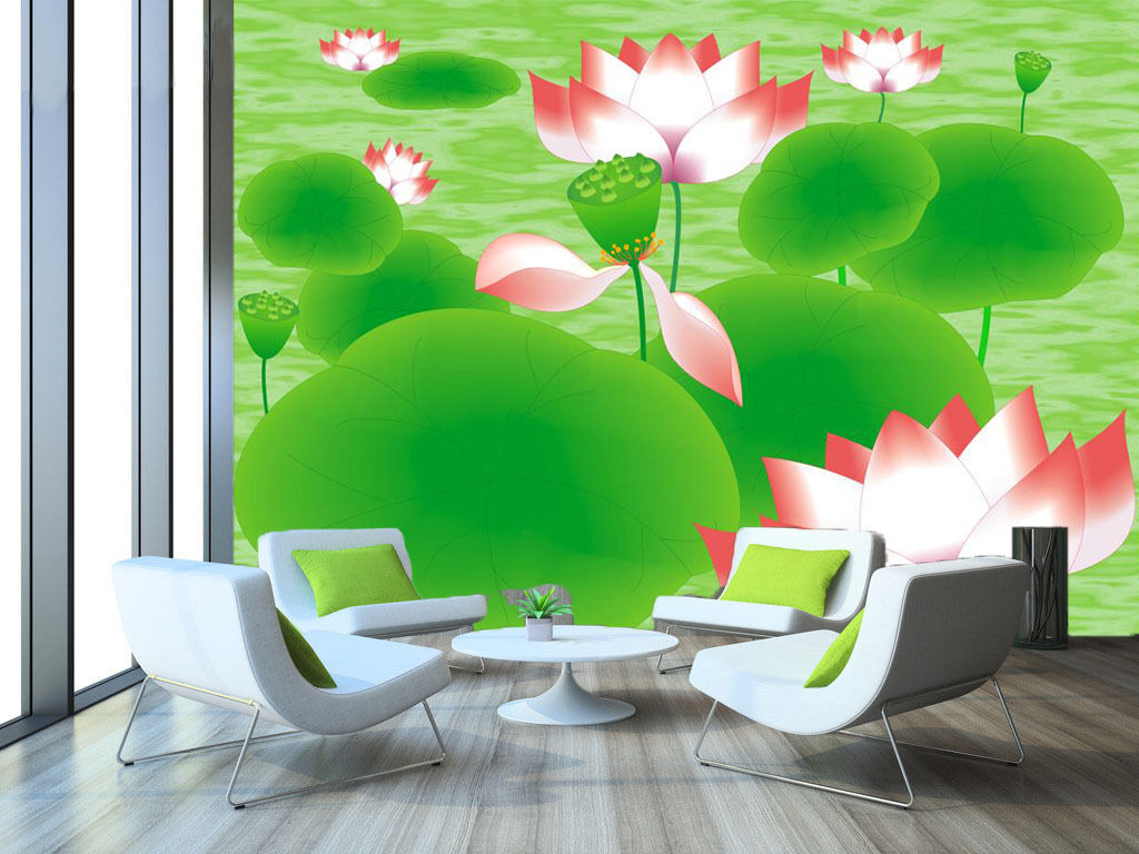 3D Grün leaves, lotus 7687 Wall Paper Print Wall Decal Deco Indoor Wall Murals