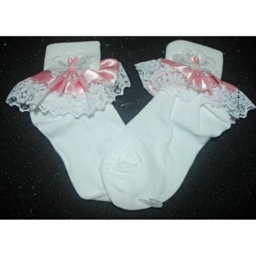 Stunning Baby Girl Frilly Socks with Bow Lace Trimmings Romany Detail May Vary