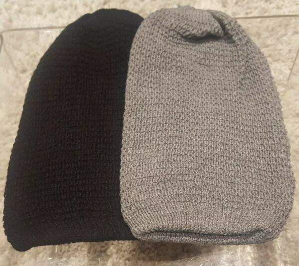 - Nuovo Di Zecca Doppio Pack-oversize Beanie Cappelli X1 Nero Grigio, X1 Paghi Uno Prendi Due
