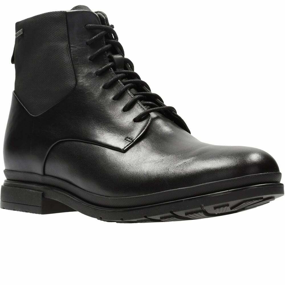 Clarks London Pace GTX Mens Black Leather Lace-Up Ankle Boots UK Size 8 1/2G