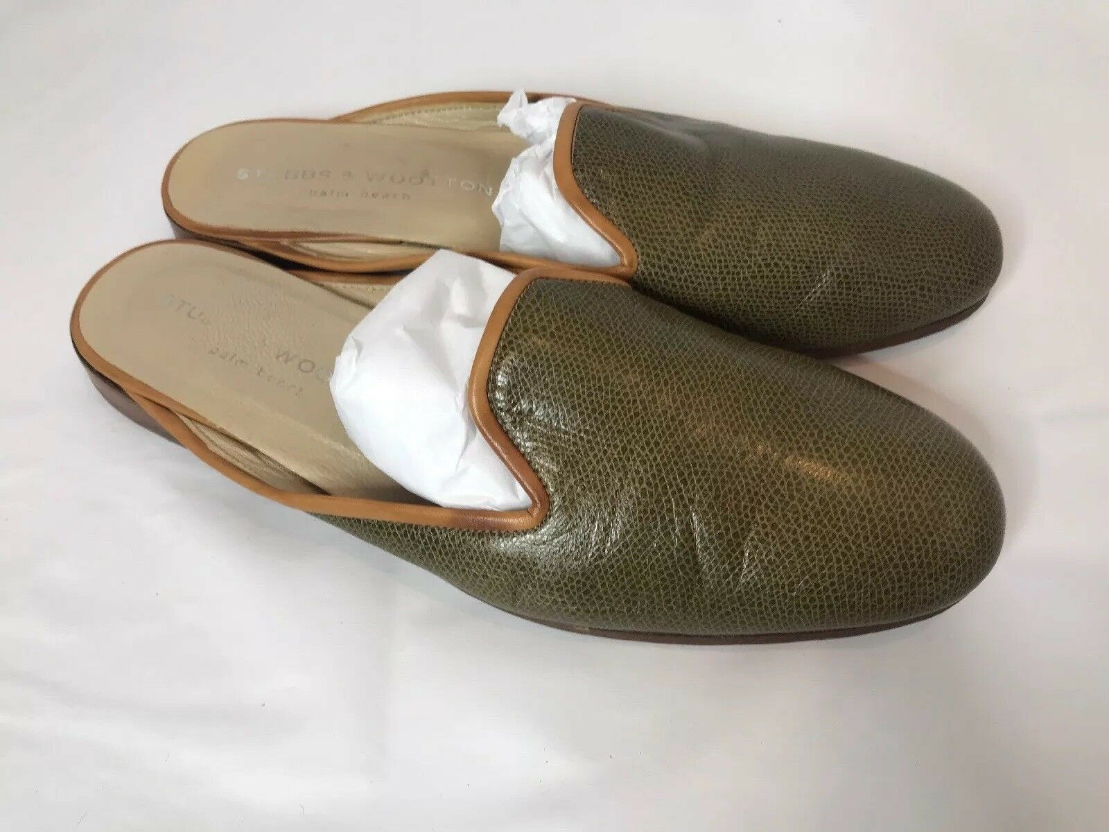 Stubbs and Wootton Leather HTF Olive Green Green Green Mules Sz 8 Slip On Flats a5e560
