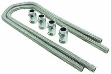 """44"""" Chrome Stainless Flexible Heater Hose Kit W/ Billet Clamp Covers SBC BBC SBF"""