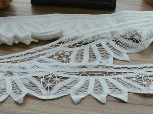 "10 Yards Vintage Victorian White Battenburg Lace Trim Lot 3"" wide"