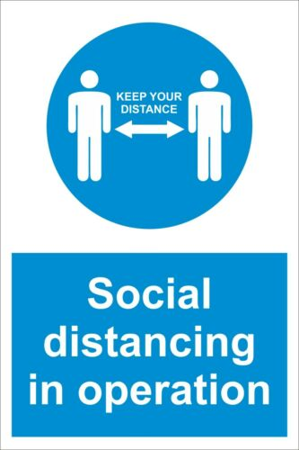 Sticker // Plastic Virus Safety Sign 2 sizes Social distancing in operation