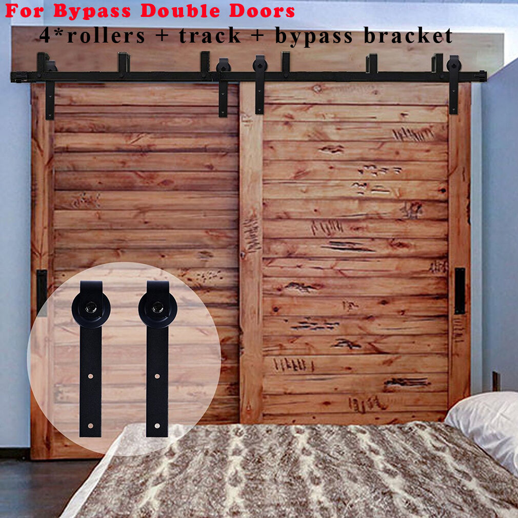 4ft 16ft Sliding Barn Door Hardware Kit Closet Rail Roller